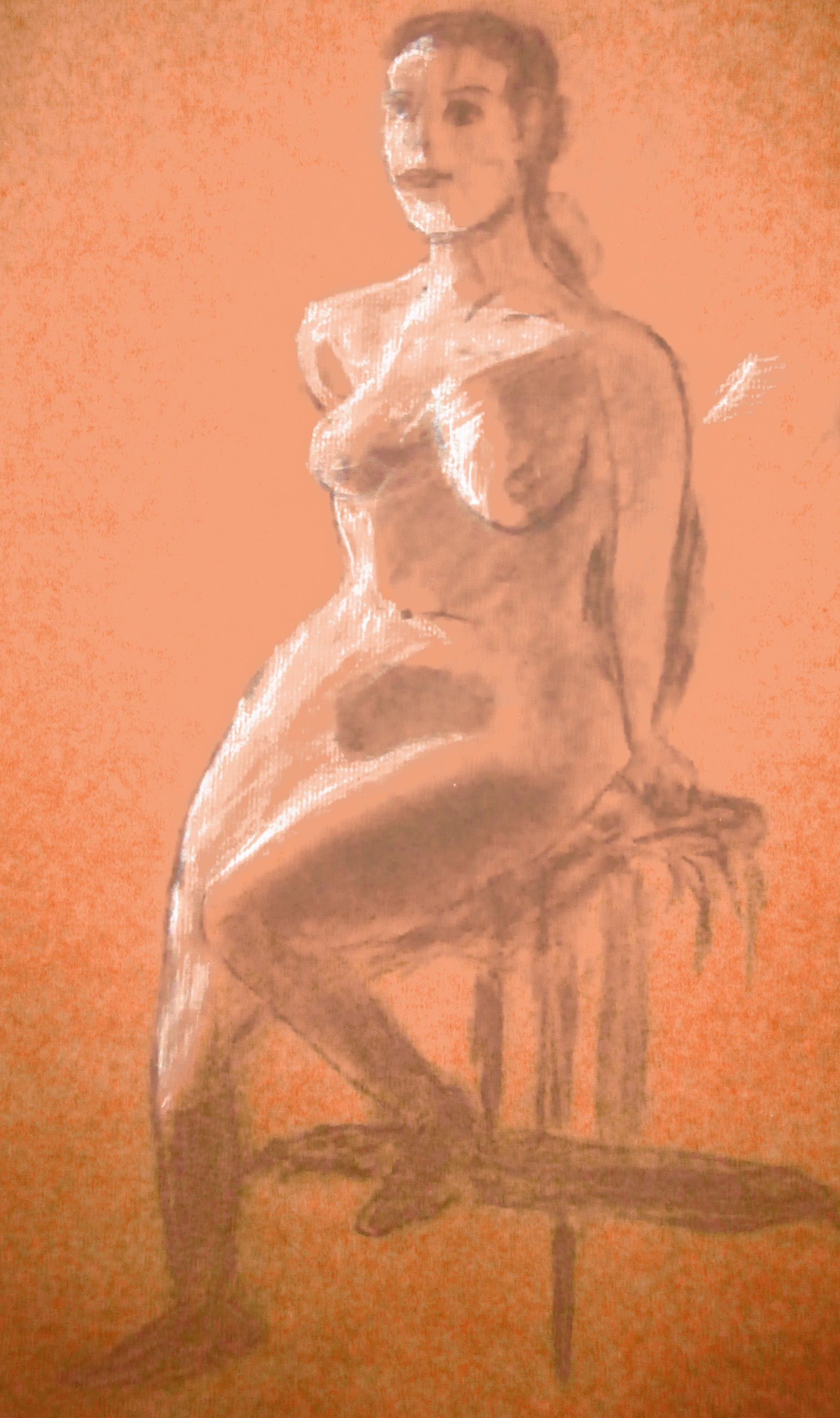 A drawing of a naked woman sitting on a stool, looking straight ahead. Orange background, earthy tones.