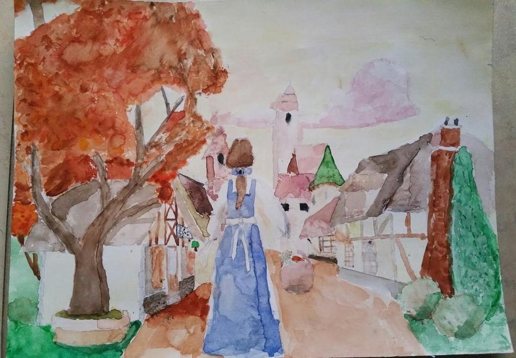 Belle (from the movie The Beauty and the Best) holding a basket in her right hand. She is seen from the back and has brown hair tied together in a ponytail with a blue ribbon. She wears a blue dress and white apron with underneath it a white blouse. In the background there is a street of a French town. On the left is a large tree with orange leaves. The sky is yellow with pink clouds.