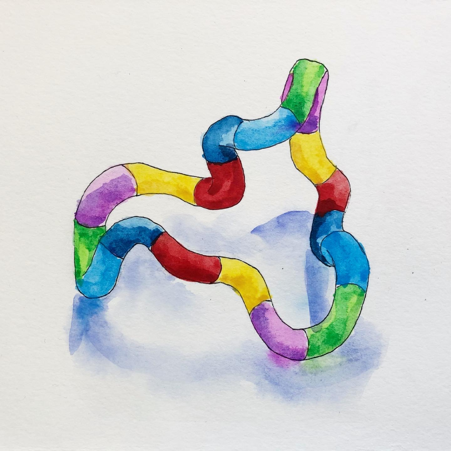 A watercolor painting I did of my favorite stim toy - my tangle. It has rainbow colors, like the autism spectrum!