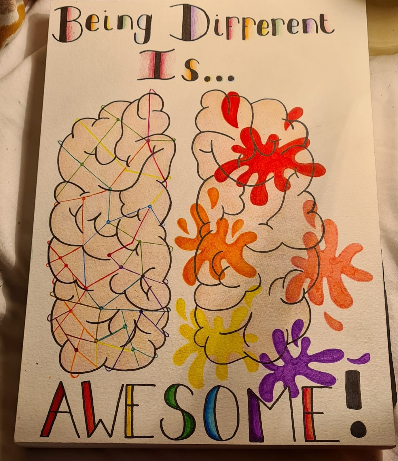 """This is a picture of a flesh coloured cartoon brain which has a black outline that has been split into two pieces. On the left side of the brain there are multi coloured lines that have been drawn all over it, on the right side of the brain their are red, orange, pink, yellow and purple splat marks. At the top of the picture their are the words """"being different is"""", these words are black with the rainbow colours outlining each letter. At the bottom of the picture their is the word """"awesome"""" which has been coloured in each colour of the rainbow and also has a black outline."""