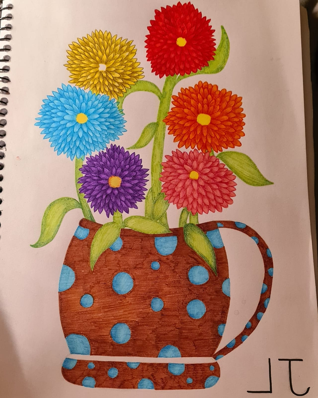 This is a picture of a red, yellow, orange, pink, light blue and purple folk style flowers which are in a brown jug that has a light blue dot pattern on it. At the bottom right corner of the picture their are the initials L and J that have been drawn backwards in black pen.