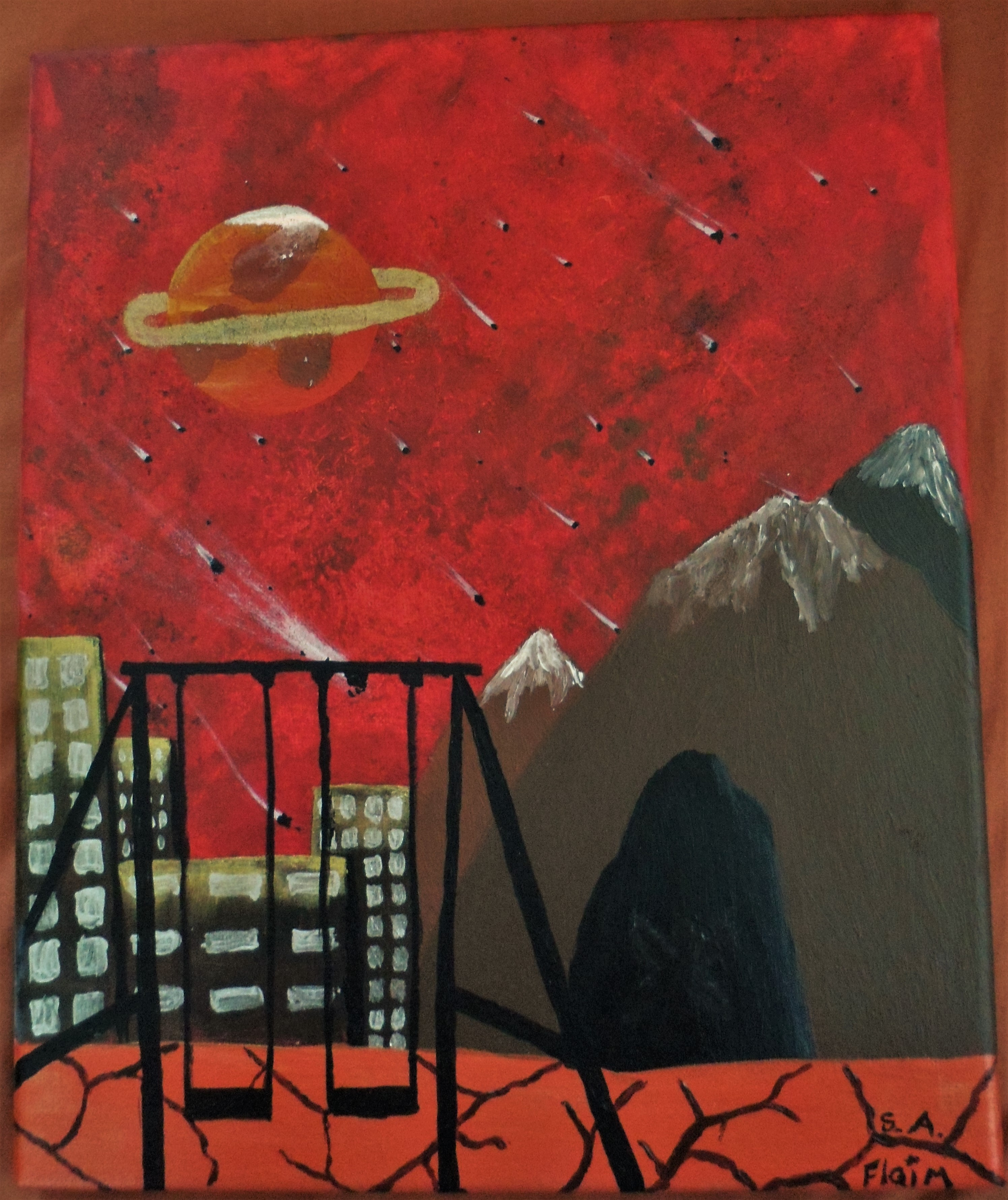 """""""The painting is called """"Playground at the end of the world"""" and is by S. A. Flaim (pronounced like 'flame'). It is in portrait and shows a burning red smokey sky filled with a meteor shower. In the top left there is a mysterious orange planet with a gold ring around it. To the right there are 3 large brown snow topped mountains the closest of which has an enormous cave with just a hint of a figure in it, possibly a fairy or Angel? To the left there are 4 abandoned tower blocks of various hights and widths bathed in the golden light of all the destruction around them. What ground that can be seen, is flowing with cracking lava. Finally in the close foreground is a swing set silhouetted by all the light behind it. *Flaim is pronounced like Flame"""""""
